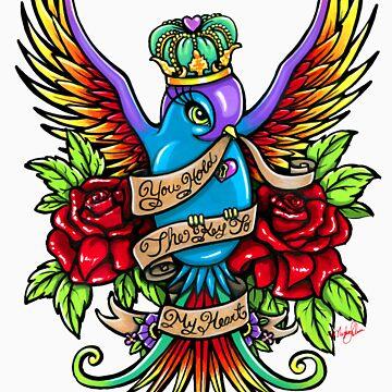Loves Reign Rainbow Swallow Tattoo by MykaJFairies