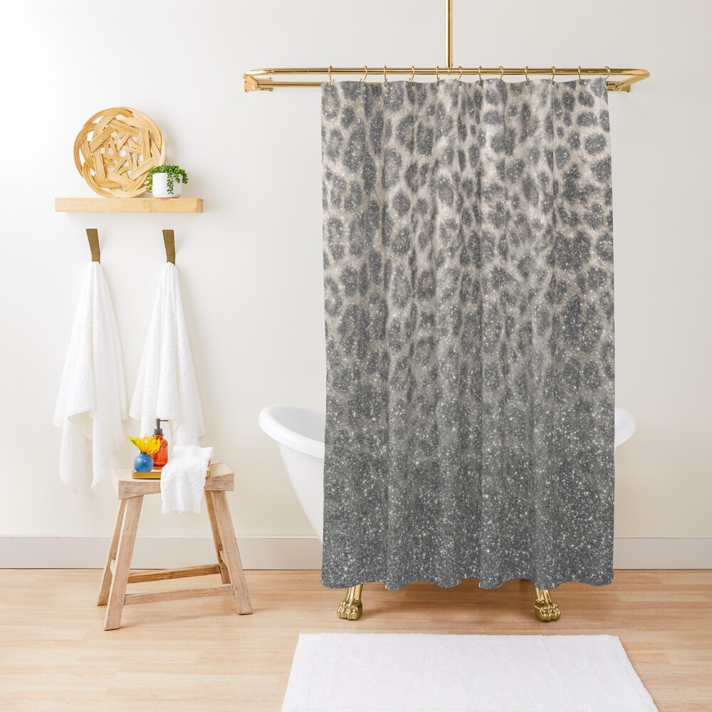 Shimmer (Snow Leopard Glitter Abstract) Shower Curtain