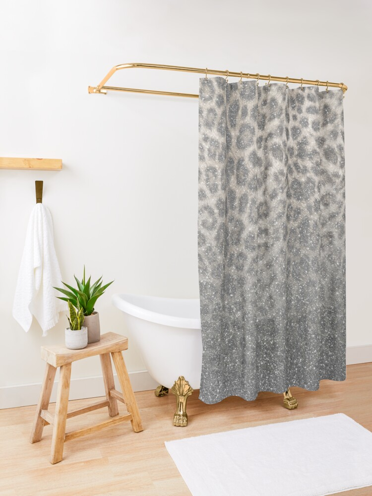 Alternate view of Shimmer (Snow Leopard Glitter Abstract) Shower Curtain