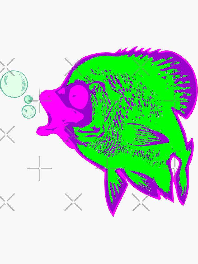 Fish Stickers in green and pink and purple by stickysterscom