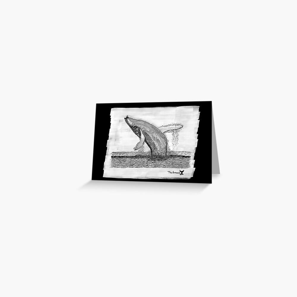 The Breach. Humpback Whale black background Greeting Card