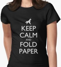 Keep Calm and Fold Paper (Unicorn) - Dark Women's Fitted T-Shirt