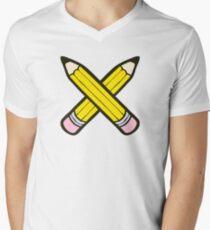 Camiseta de cuello en V Pencil Power Blue Pattern