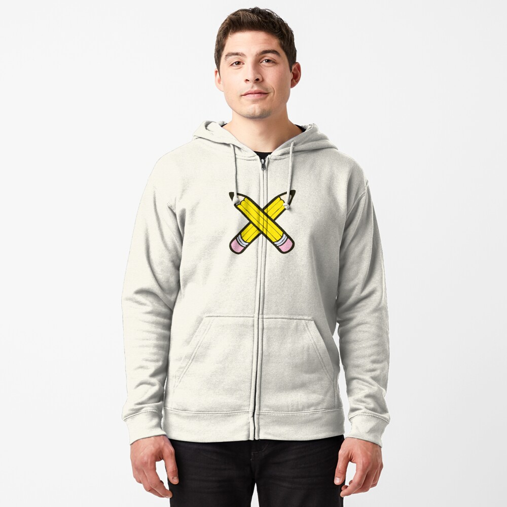 Pencil Power Blue Pattern Zipped Hoodie