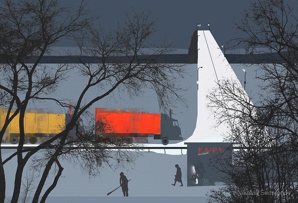 cafe by the bridge by Nikolay Semyonov