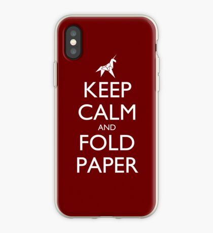 Keep Calm and Fold Paper - Unicorn / Red iPhone Case
