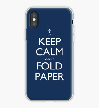 Keep Calm and Fold Paper - Stickman/Blue iPhone Case