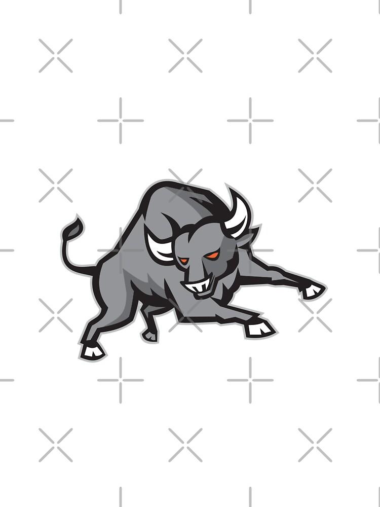 Raging Bull Attacking Charging Retro by patrimonio