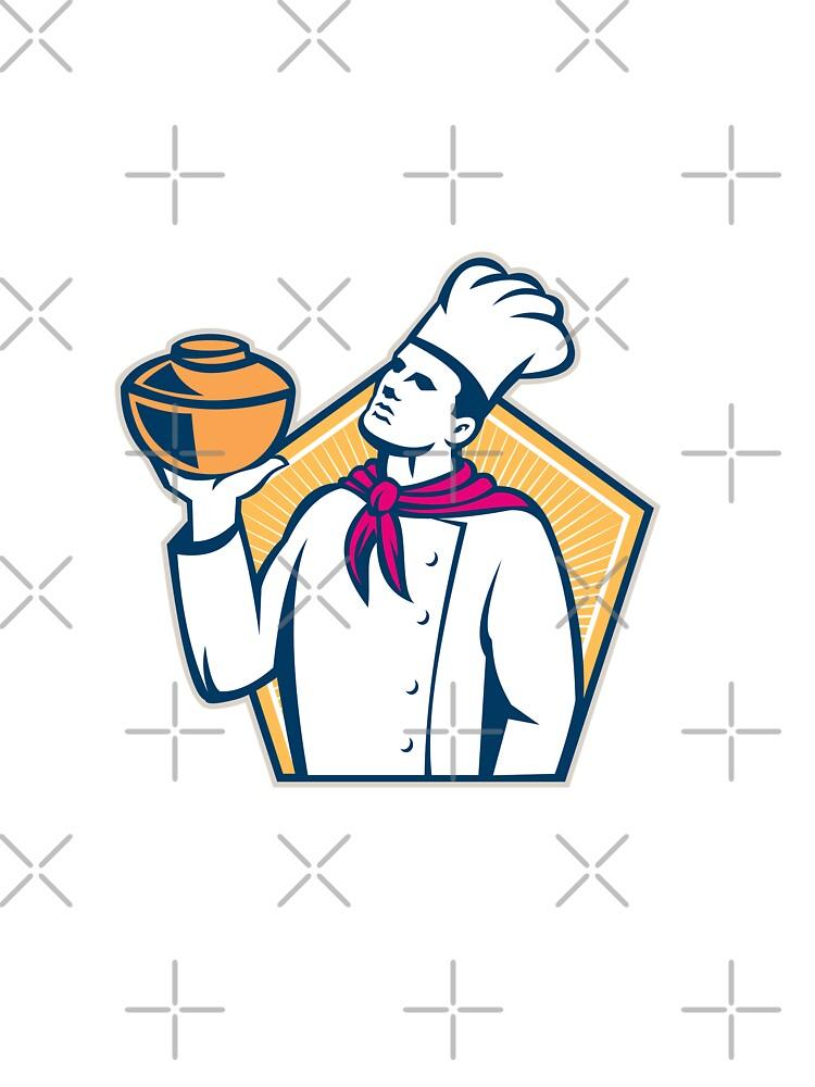 Chef Cook Holding Pot Retro by patrimonio