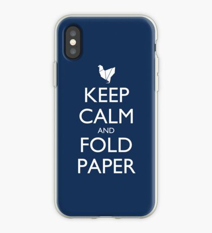 Keep Calm and Fold Paper - Chicken/Blue iPhone Case