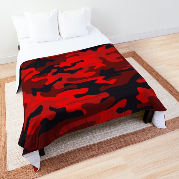 Red and Black Camouflage Pattern Comforter