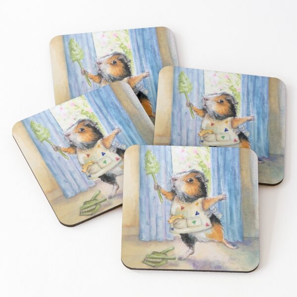 Private Commission: Dancing, Cleaning Guinea Pig Coasters (Set of 4)