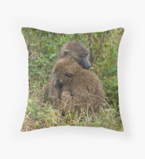 Lovely olive baboons Throw Pillow