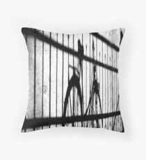 Bicycle shadows Throw Pillow
