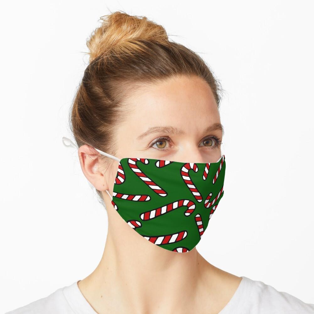 Candy Cane Pattern Dark Green Mask