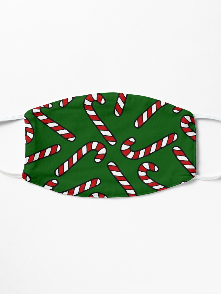Alternate view of Candy Cane Pattern Dark Green Mask