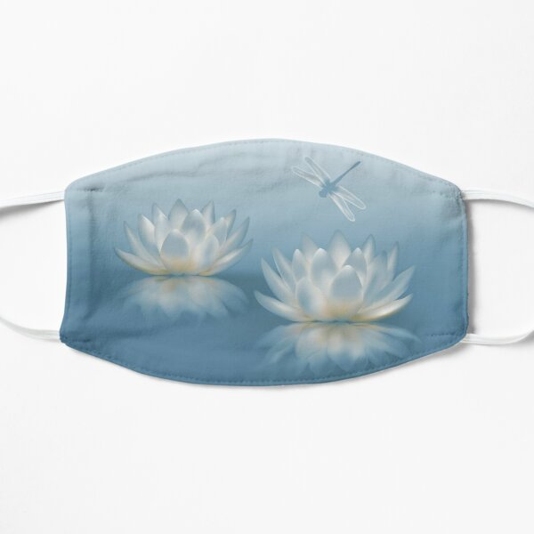 Blue Lotus and Dragonfly Flat Mask