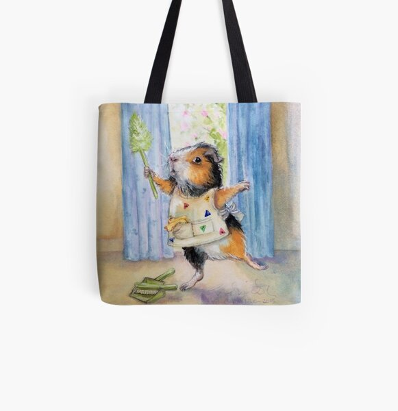 Private Commission: Dancing, Cleaning Guinea Pig All Over Print Tote Bag