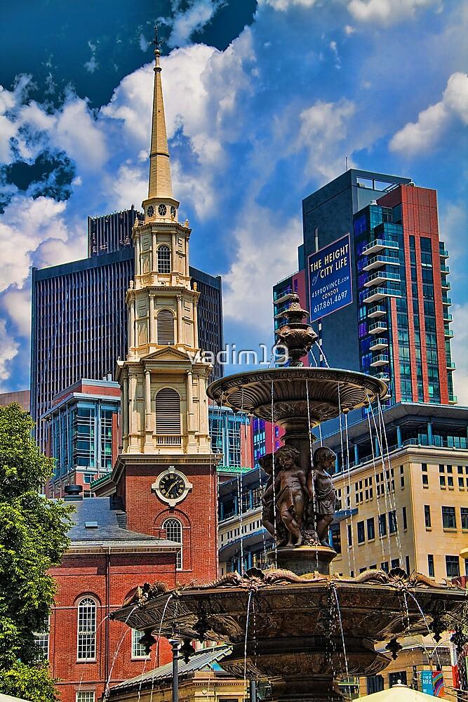 USA. Massachusetts. Boston. Church and Fountain. by vadim19