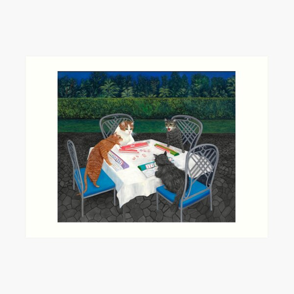Cats Playing Mahjong in the Garden Art Print