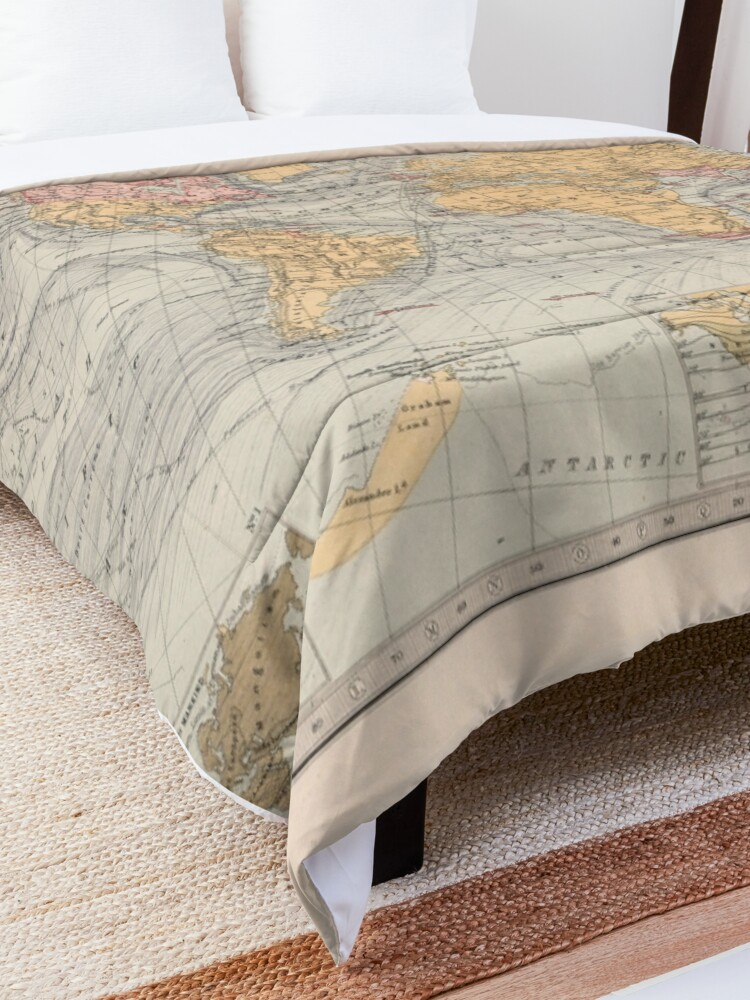 Alternate view of Vintage Map of the World (1871) Comforter