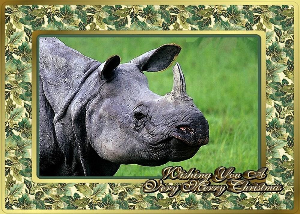 Rhinoceros Blank Christmas Greeting Card by Oldetimemercan