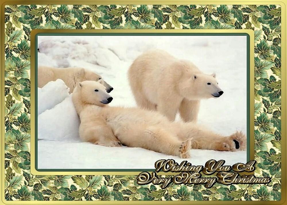Polar Bear Blank Christmas Greeting Card by Oldetimemercan