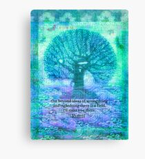 Rumi Friendship Peace Quote with tree art Canvas Print