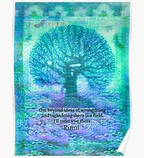 Rumi Friendship Peace Quote with tree art Poster