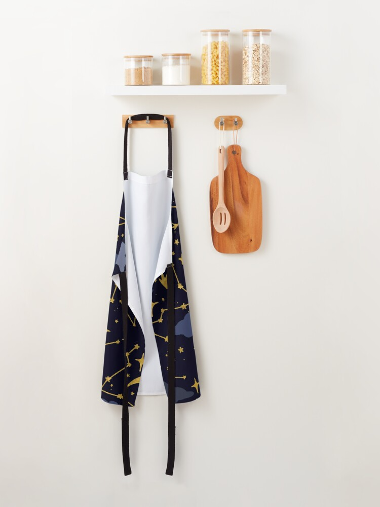 Alternate view of Celestial Stars and Moons in Gold and Dark Blue Apron