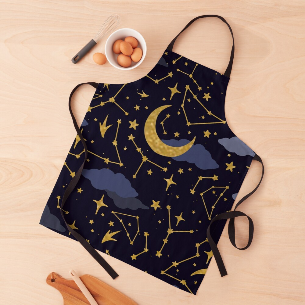 Celestial Stars and Moons in Gold and Dark Blue Apron