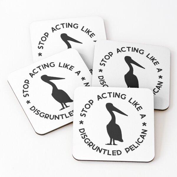 Disgruntled Pelican (Black) Coasters (Set of 4)