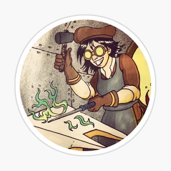 The Wand Maker: a Steampunk Witch Sticker