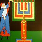 Aaron Lighting the Menorah Tee by Shulie1