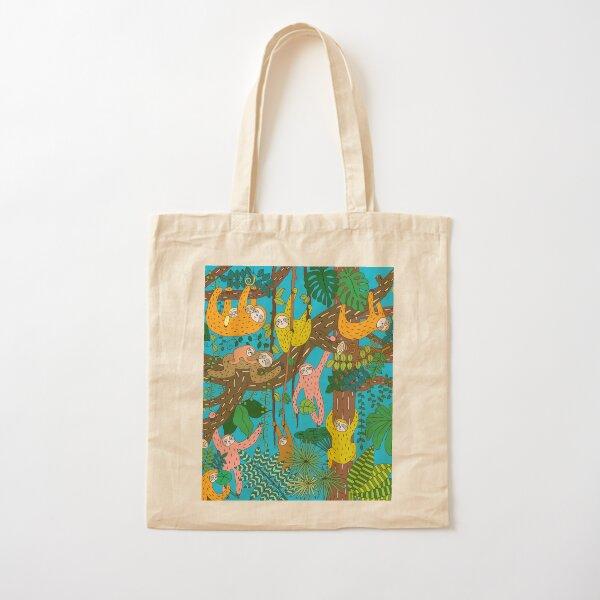 Happy Sloths Jungle   Cotton Tote Bag