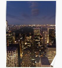 NYC Central Park at Night Poster