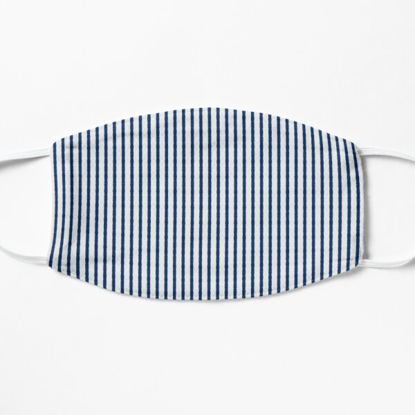Dark Blue and White Stripe Pattern Blue  Mask