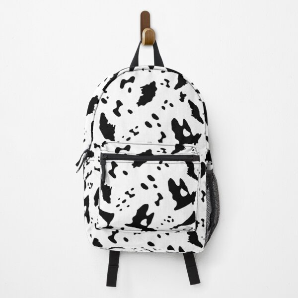 Black Painted Animal Spots on White Backpack