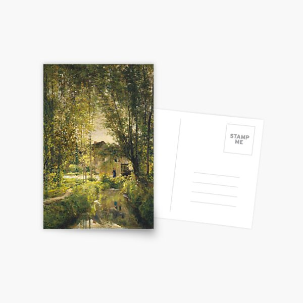 Charles-Francois Daubigny - Landscape With A Sunlit Stream Postcard