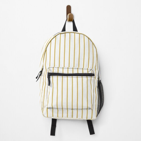 Spicy Mustard Pinstripe on Solid White Backpack
