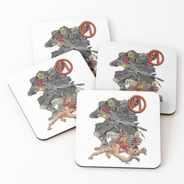 FL4K The Beastmaster With Guard Skag Vault Symbol Borderlands 3 Rakk Attack! Coasters (Set of 4)