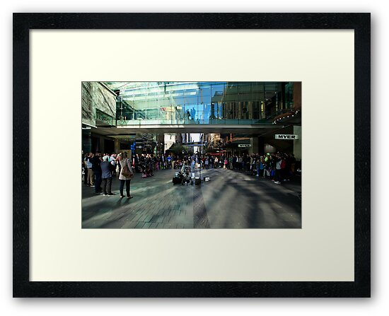 Pitt Street Mall, Sydney, With Crowd And Busker by Noel Elliot