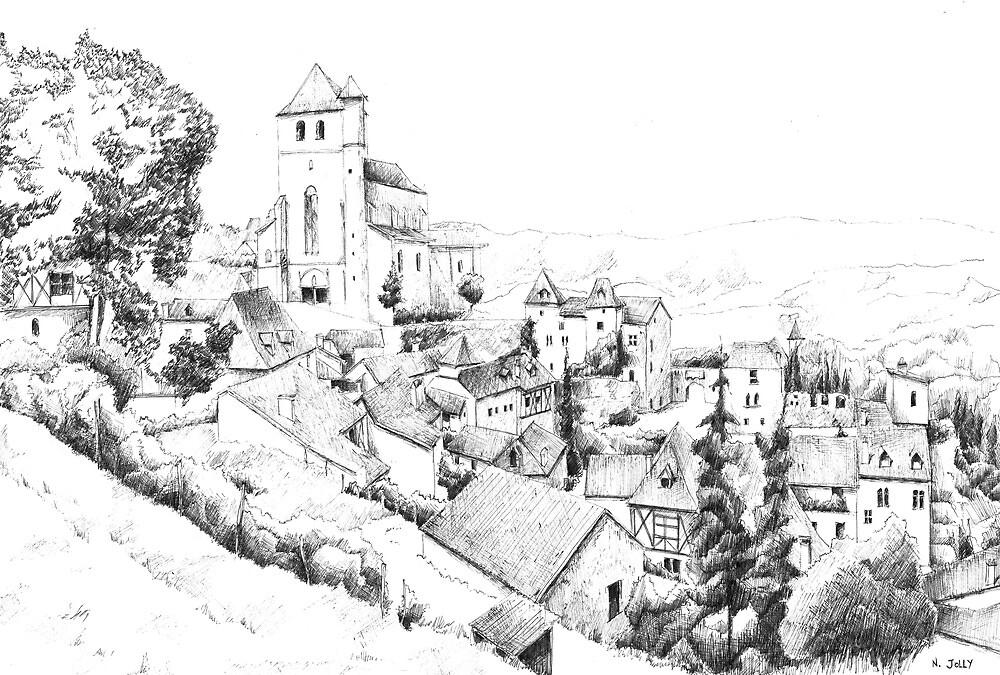 Saint-Cirq-Lapopie - Black ink drawing by nicolasjolly