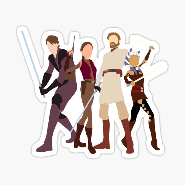Anakin, Padmé, Obi wan and Ahsoka clone wars Sticker