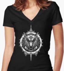 Patriots / White Logo Women's Fitted V-Neck T-Shirt