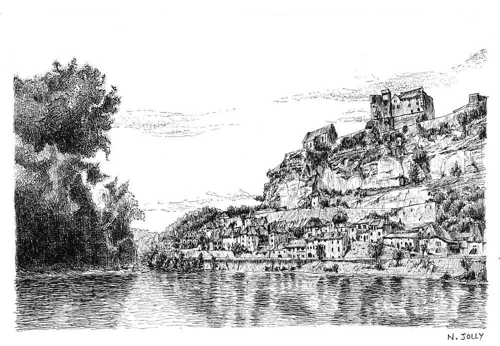 Beynac - Black ink drawing by nicolasjolly