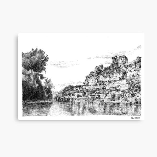 Beynac - Black ink drawing Canvas Print