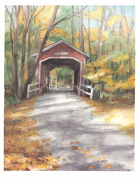 Covered bridge watercolor by Mike Theuer