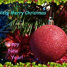 Christmas Card with Red Tree Ornament by BlueMoonRose