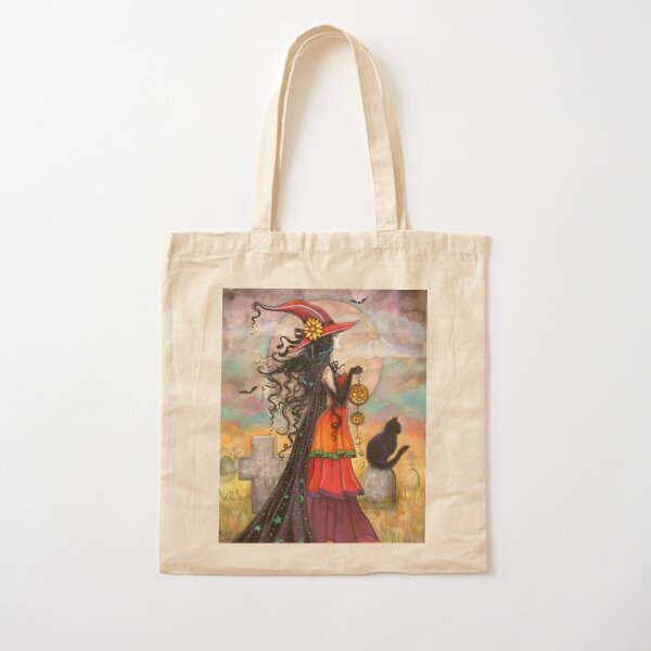 Witch Way Halloween Witch and Black Cat Fantasy Art Cotton Tote Bag